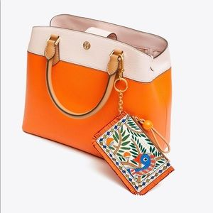 Tory Burch Toucan Zip Card Case Key Ring Bag Charm